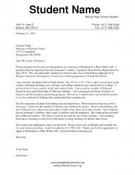 Letter Examples For Students High School Student Application