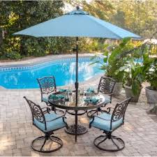 outdoor dining sets with umbrella. Fine Outdoor Hanover Traditions Aluminum 5 Piece Round Glass Top Patio Dining Set Intended Outdoor Sets With Umbrella E