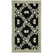 hand hooked blebee black wool rug ble bee crochet