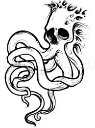 Small Picture How to Draw an Octopus Skull Tattoo Step by Step Skulls Pop