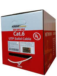 <b>Cat6</b> Plenum 1000ft <b>Cable</b> Bulk 100% <b>Solid Copper</b> UL Listed