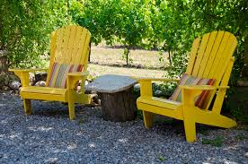 yellow patio furniture. Download Yellow Adirondack Chairs On A Patio Stock Image - Of Patio, Table: Furniture R
