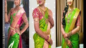 Green Saree With Pink Blouse Design Top 20 Bridal Green Pattu Sarees With Pink Blouse Designs