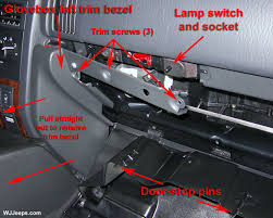 jeep grand cherokee wj lamps and lighting bulb removal glove box lamp removal