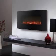 wall mood lighting.  Lighting Black Glass Wall Mounted Electric Fire  On Mood Lighting