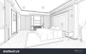 interior design bedroom sketches. Interior Design Of Modern Classic Style Bedroom, 3D Outline Sketch,  Perspective Interior Bedroom Sketches I