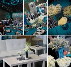 Turquoise And White Wedding Decorations Home Design Turquoise With Black White Damask Jens Blossoms