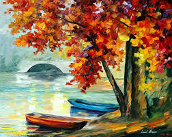 Canvas Painting Two Boats Palette Knife Oil Painting On Canvas By Leonid Afremov