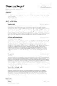 Shipping Clerk Resume samples
