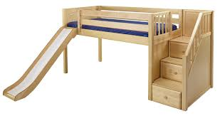 Maxtrix Low Loft Bed wStaircase on End Slide