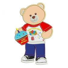 Teddy Bear Applique Designs Happy Birthday Bear Applique Design Bear Applique Design