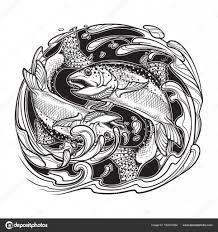 элемент воды знака зодиака рыбы векторное изображение