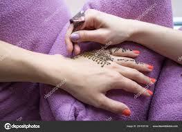 Pojetí Krásy Obrázek Lidské Ruky Dekorován Henna Tetování Mehendi
