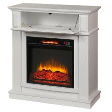 hampton bay parksley 31 in freestanding compact infrared electric fireplace in white