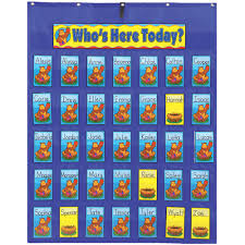 Whos Here Today Chart Attendance Multiuse Pocket Chart