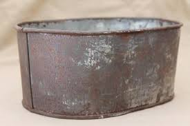 vintage zinc planter bucket, old rusty crusty primitive small metal tub