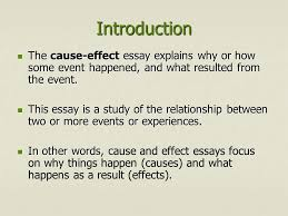 cause effect essay introduction the cause effect essay explains  2 cause effect essay