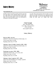 sample cover letter salary requirements ideas of sample cover letter with salary history enom warb in how to