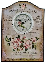 large 50 cm wooden shabby vintage chic kitchen wall clock amour et passion