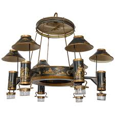 early 19th century french chinoiserie painted toleware chandelier for
