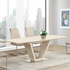 Lathena Cream Or Grey Glass Gloss 7 Piece Extending Dining Table Set