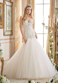 Popular Mori Lee Wedding Gown Crystallized Embroidery On