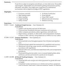 Truck Driver Resume Sample Create My Resume Sample Of Driver
