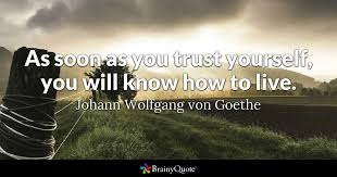 Goethe Quotes Extraordinary As Soon As You Trust Yourself You Will Know How To Live Johann