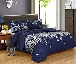 delboutree 3pcs bedding set lightweight microfiber duvet cover set full queen size navy jungle