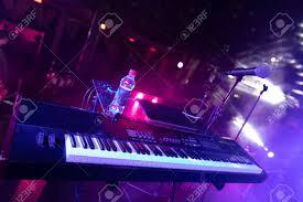 Piano Key Lights Synth Keys In The Light Club Lights Closeup On Piano Keyboard