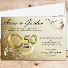 10 personalised gold rings 50th golden wedding anniversary invitations n1