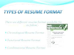 Different Resume Format Different Types Of Resume Formats Pdf Samples Type With Examples
