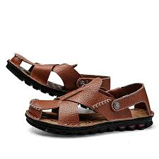 mens hollow out leather sandals summer closed toe breathable sandals