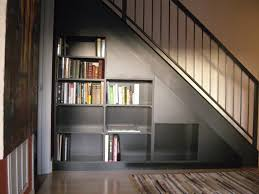 stair bookcase furniture. Interior. Grey Bookcase Under Black Staircase On Ceramics Flooring And White Wall. Remarkable Stair Furniture