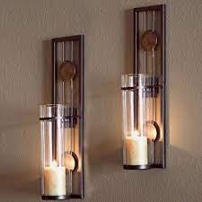 set of 2 pillar candle holder wall