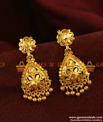 South Indian Traditional Gold Earrings Designs Er365 Gold Like Kerala Design Imitation Jewelry Bridal