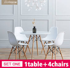 80cm round dining table and 4 chairs set home office eiffel style white wood leg for