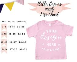 Bella Canvas 3001b Size Guide Chart Baby Jersey Short Sleeve Tee Toddler T Shirt Mockup Boy Girl Son Daughter Infant Mockup Flat Lay