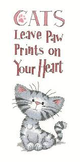 Cats Paw Prints Kit Chart Fabric Threads