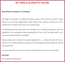 30 days notice letter to landlord