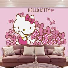 3D large mural wallpaper Pink cartoon wall mural custom photo wallpaper  hello kitty home decor wall