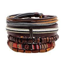 new stylish 5pcs bohemian bead bracelet men leather wristband jewelry