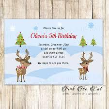 Christmas Birthday Party Invitations 30 Christmas Kids Birthday Party Invitation Raindeer Winter Holidays