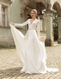 summer style lace long sleeve wedding dresses v neck a line lace