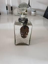 Deko Flasche Totenkopf Silber Spiegel