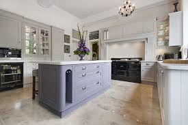 hand painted kitchen in equivilent colours to farrow pavillion grey and brassica
