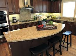 Rounded granite counter top kitchen island