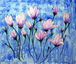 flowers on blue acrylic on canvas painting