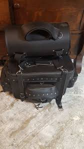 leather saddlebags for motorcycle lightly used