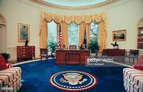 oval office photos. Newly Renovated WH Oval Office W New Color Scheme Artwork Couches Covered Striped Fabric Done Photos N